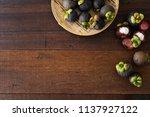 mangosteen tropical fruit with...   Shutterstock . vector #1137927122