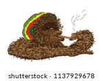 relaxed monkey smokes a pipe | Shutterstock .eps vector #1137929678