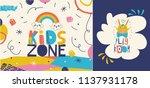 kids zone logos   signs in... | Shutterstock .eps vector #1137931178
