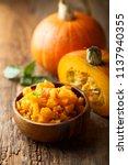 pumpkin and chili chutney | Shutterstock . vector #1137940355