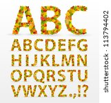 Autumn Leaves Font. Vector...
