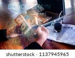 golden bitcoin in generation...   Shutterstock . vector #1137945965