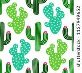 cute hand drawn cactus seamless ... | Shutterstock .eps vector #1137949652