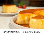 sliced pudding with syrup | Shutterstock . vector #1137971102