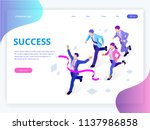 isometric business success... | Shutterstock .eps vector #1137986858