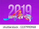 2019 new year on the background ... | Shutterstock .eps vector #1137990968