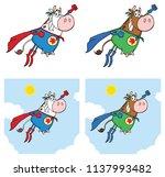 super hero cow cartoon mascot...   Shutterstock .eps vector #1137993482