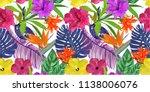floral seamless border pattern. ... | Shutterstock .eps vector #1138006076