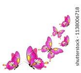 beautiful pink butterflies ...   Shutterstock .eps vector #1138006718