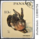 Small photo of PANAMA - CIRCA 1965: A stamp printed in Panama shows the young hare by Albrecht Durer, circa 1965