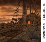 pirate ship deck with stairs to ... | Shutterstock . vector #1138008848