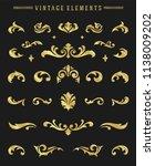 vintage ornaments vignettes set ... | Shutterstock .eps vector #1138009202