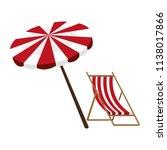 wooden beach chair with umbrella | Shutterstock .eps vector #1138017866