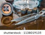 new glass hookah with beautiful ... | Shutterstock . vector #1138019135