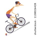 tired cartoon cyclist man in... | Shutterstock .eps vector #1138026428
