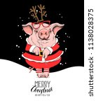 pig in a santa's red costume... | Shutterstock .eps vector #1138028375