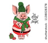 pig in a santa's red costume ... | Shutterstock .eps vector #1138028378