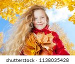 girl at autumn. child with leaf ... | Shutterstock . vector #1138035428
