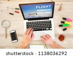 buy airplane ticket online, book flight on internet, travel transportation planning  - stock photo
