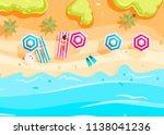 people swim and sunbathe.  top... | Shutterstock .eps vector #1138041236