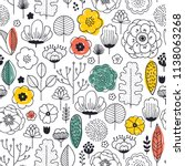 summer flower seamless pattern. ... | Shutterstock .eps vector #1138063268