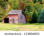 old abandoned farm buildings... | Shutterstock . vector #113806852