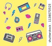 set with vintage music and game ... | Shutterstock .eps vector #1138070525