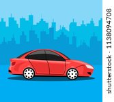 red auto isolated on city... | Shutterstock .eps vector #1138094708