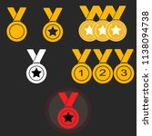 set gold medal with ribbon... | Shutterstock .eps vector #1138094738