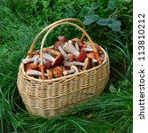 Wicker Basket With Mushrooms O...