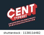 retro 3d display font design ... | Shutterstock .eps vector #1138116482