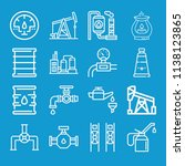 oil related set of 16 icons... | Shutterstock . vector #1138123865