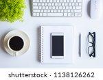 white desk office with laptop ... | Shutterstock . vector #1138126262