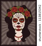 sugar skull girl | Shutterstock .eps vector #113815342