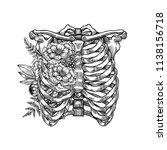 tattoo anatomy vintage floral... | Shutterstock . vector #1138156718