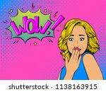 surprised woman with blonde... | Shutterstock .eps vector #1138163915