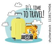 its time to travel baggage... | Shutterstock .eps vector #1138174406