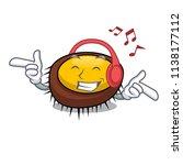 listening music sea urchin... | Shutterstock .eps vector #1138177112