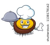 chef with food sea urchin... | Shutterstock .eps vector #1138178162