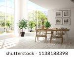 white dinner room with green... | Shutterstock . vector #1138188398