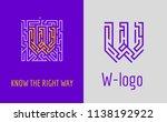 w letter maze. creative logo... | Shutterstock .eps vector #1138192922