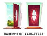 house door open an closed... | Shutterstock .eps vector #1138195835