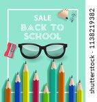 back to school lettering in... | Shutterstock .eps vector #1138219382