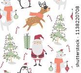 cute winter seamless pattern... | Shutterstock .eps vector #1138220708