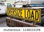 black on yellow oversize load...   Shutterstock . vector #1138223198