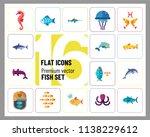 fish icon set. pieces octopus... | Shutterstock .eps vector #1138229612