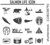 salmon life icons vector set.... | Shutterstock .eps vector #1138238792