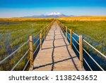 wooden bridge walkway path on...   Shutterstock . vector #1138243652