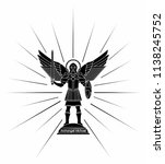archangel michael. black fill | Shutterstock .eps vector #1138245752