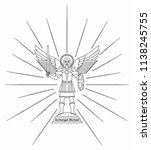 archangel michael. outline only | Shutterstock .eps vector #1138245755